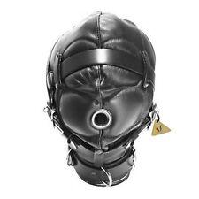 Faux Leather Full Gimp Hood Mask Padded Locking Eyes Blindfold Bondage
