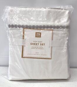 NEW Pottery Barn TEEN Pop Dot Embroidered Organic QUEEN Sheet Set~Light Gray