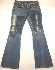 True Religion Joey Flare Women's Jeans Distressed Patchwork 100% Cotton Size 26