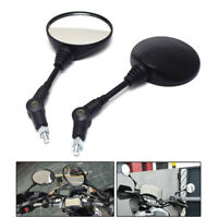 2pc Folding Rear Mirrors Round Motorcycle 8mm 10mm Thread Side Mirror For