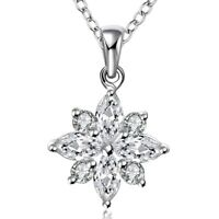 """Pave Snowflake Crystals Pendant Necklace in 18K White Gold with 18"""" Chain ITALY"""