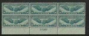 US Plate Block Scott #C24 30c Winged Globe [6] MNH OG CV $120