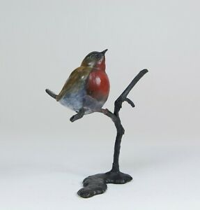 Solid Bronze  Hot Cast Robin on Branch  Certificate