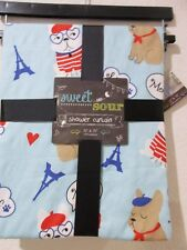 "Sweet and Sour Paris Puppy Fabric Shower Curtain Polyester 72"" x 72"" NEW"