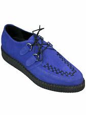 Lucky Dice Unisex Creep Creeper Schuh Rockabilly Royal Blau Suede Spitz 5004