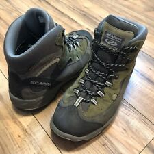 Scarpa Mens Gore-Tex Boots Green Grey Suede Hiking Climbing Mens US Size 10.5