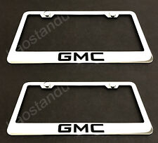 2x GMC STAINLESS Chrome License Plate Frame w/screw Caps