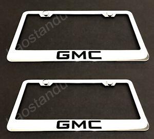 2x GMC STAINLESS Chrome License Plate Frame w/screw Caps