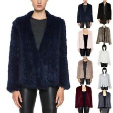 Newest Women 100% Real Farm Knit Rabbit Fur Cardigan Coat Jacket Warm Elegant
