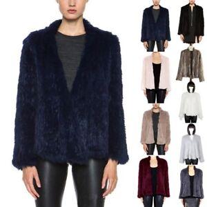 Newest Women 100% Real Farm Knit Rabbit Fur Cardigan Coat Jacket Warm Elegant