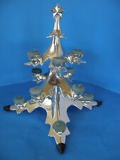 "HIGH LUSTRE 15"" 3D CHROME/SILVER PLATED CHRISTMAS TREE 12 BALL CANDLE HOLDER"
