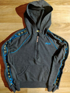 Fila 90's Vintage Sport Womens Hoodie Tracksuit Top Jacket Hooded Gray