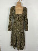 BNWT WOMENS NASTY GAL BROWN/BLACK LEOPARD PRINT LONG SLEEVE FIT&FLARE DRESS UK 6