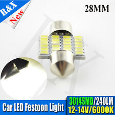 2PCS  28mm 3014 24SMD LED Car Festoon Dome Map Light Bulbs White 240LM DC12V