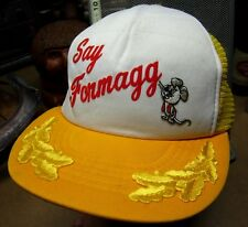 SAY FORMAGG captain's hat Mouse trucker cap Pixie & Dixie cartoon 1980s cheese