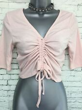 BNWT NEW LOOK 14 Pale Pink Ruche Front Short Sleeve Jersey Rip Crop V Neck Top