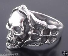 .925 STERLING SILVER SKULL BONE FLAME CHOPPER BIKER RING US sz 11.5