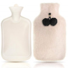 JUFAFA Hot Water Bottle with Cover and Pom Poms,2L Large Rubber Hot Water Bag