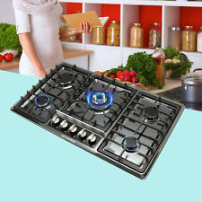 "34"" Black Titanium Steel Cooktops 5 Burners Gas Stoves Top Hob & NG/LPG Kitchen"
