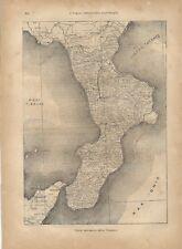 Carta geografica antica CALABRIA 1891 Old antique map
