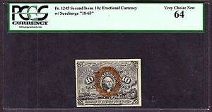 US 10c Fractional Currency Note 2nd Issue FR 1245 PCGS 64 V Ch CU