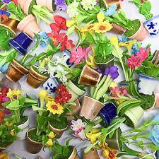 "12 Clay Miniature Handmade Dollhouse Flower 1/2"" Ceramic Pot Home Decor"