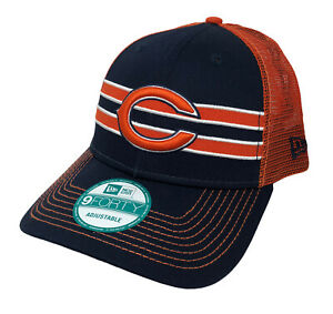 Chicago Bears NFL New Era Mesh Trucker Snapback Cap (Navy Blue/Orange) NWT