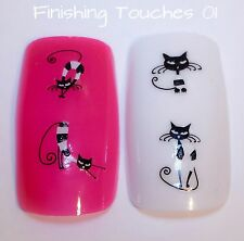 Nail Art Sticker- Cat Decal #185 BLE976D Black White Transfer Wrap Animal