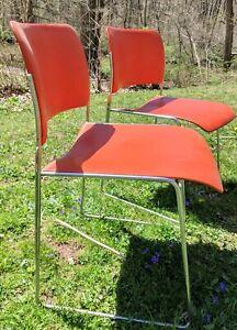 Set of DAVID ROWLAND 40/4 Vintage Mid Century Modern Stacking Chair Orange Steel