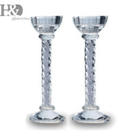 Pair Crystal Diamante Candle stick Glass Cut Holder Romantic Dinner Table Decor