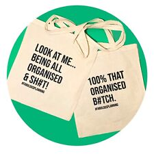 💃TWO TOTE BAGS, COTTON, SASSY, QUOTE, GIFT, ECO FRIENDLY, REUSABLE, HAND BAG,💃