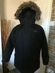 BOYS THE NORTH FACE DOWN FILLED HOODED JACKET SIZE MEDIUM
