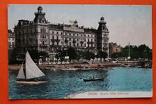 AK Zürich 1905-15 Grand Hotel Bellevue Gebäude Häuser Schiffe Boote Promenade !!