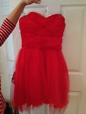 Masquerade Bright Red Heart-Cut Tool Dress