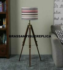 Nautical Wooden Floor Lamp Shade Light Handmade Copper Antique Adjustable Lamp