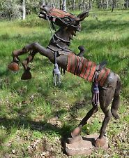 Rare Antique Yoruba Rearing Wooden Leather Horse W Saddle African Statue, Africa