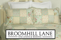 New! Luxury 100% Cotton Duck Egg Blue Floral Patchwork Quilted Bedspread Country