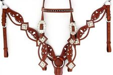 SILVER SNAKE HEADSTALL LEATHER WESTERN BARREL HORSE SHOW BRIDLE BREAST COLLAR