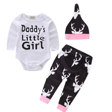 DH Toddler Baby Girls Boys Romper Outfit Printed Deer Pants Shirt Hat 0-18M