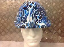 vented safety Helmet hard hat geometric  blue camo design Builder Construction