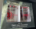Game of Thrones Set of 2 16 oz Glasses with Platinum Rims NEW