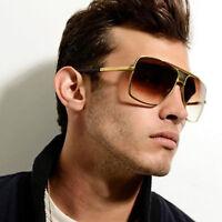 Retro Men's Large Square Aviator Metal Bar Fashion Sunglasses Classic Designer