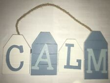 CALM Blue & White Nautical Pirate Boat Theme Hanging Plaque Sand Gift Sign
