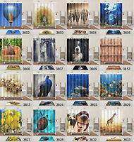 180x180cm Mildew Waterproof Bathroom Fabric Shower Curtain 12 Hooks & Bath Mat