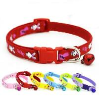 1pc Adjustable Pet Cat Dog Puppy Cute Collar Safe Buckle Bell Strap-Polyesterr N