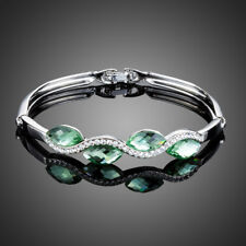 18K Gold GP Made With Swarovski Elements Green Crystal Wave Bracelet Clearance