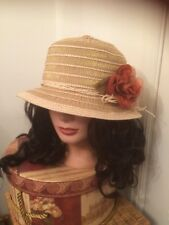 WOMAN'S WOVEN SUN HAT Fabric Flower Soft Crushable