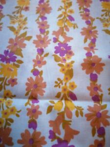 Vintage Retro 1960s /70s Printed  Cotton Poplin Fabric approx 4 meters