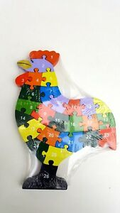 Wooden rooster jigsaw/puzzle with numbers & letters,colorful educational toy