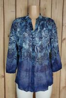 CHARTER CLUB Womens Size 8 3/4 Sleeve Shirt Button Down Floral Sheer Poly Top